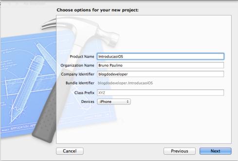 Tela de configuração da aplicação