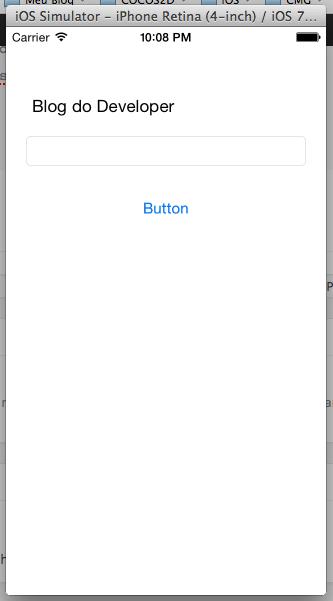 Emulador iOS rodando nossa aplicação.